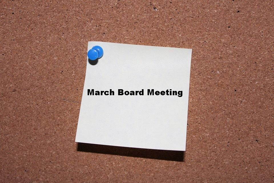 March Board Meeting will be held on Tuesday, March 26th at 7 pm at BCTC West Campus